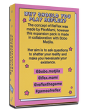 "Yellow and pink ReFlex conversation card game.  This is a collaboration with Bobo Matjila. The questions are made for you to ""dig deep"", get serious and really explore what you believe. And why you believe it."