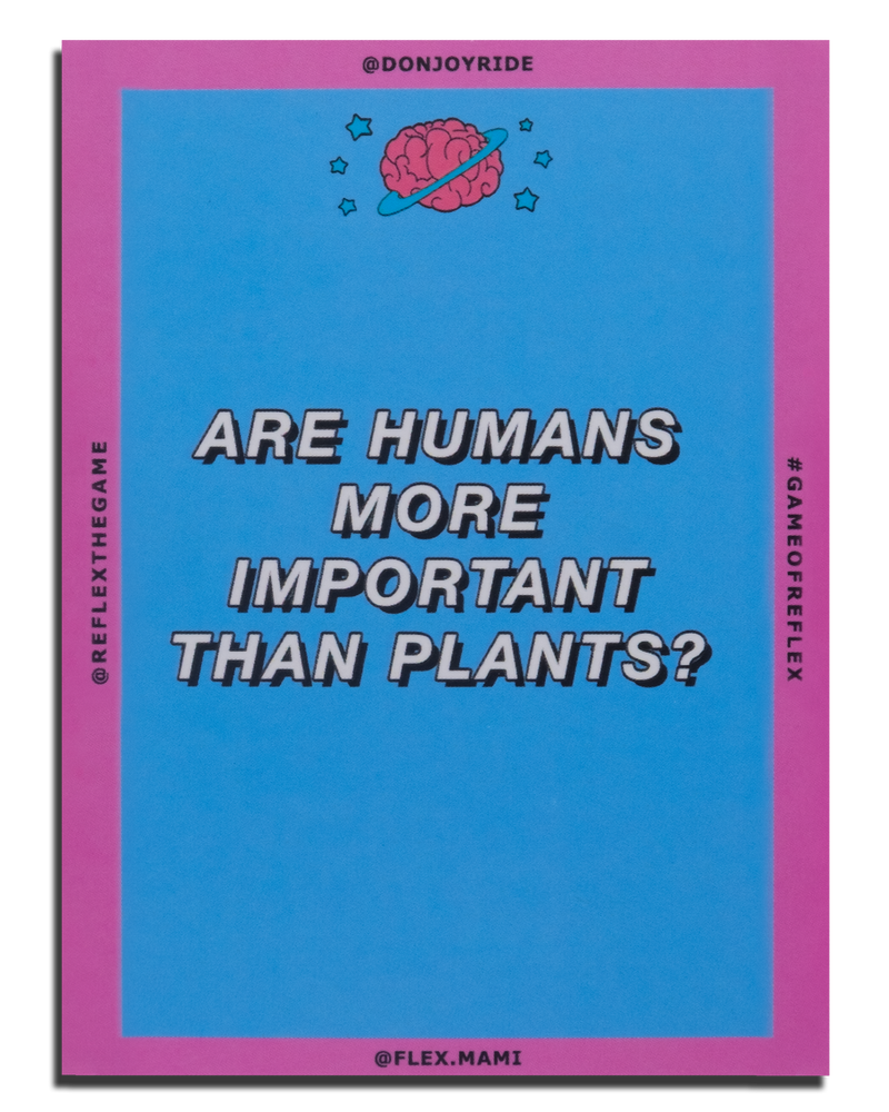"Pink and blue ReFlex conversation card game. This is a collaboration with musician Joyride. The questions are made for you to ""dig deep"", get serious and really explore what you believe. And why you believe it."