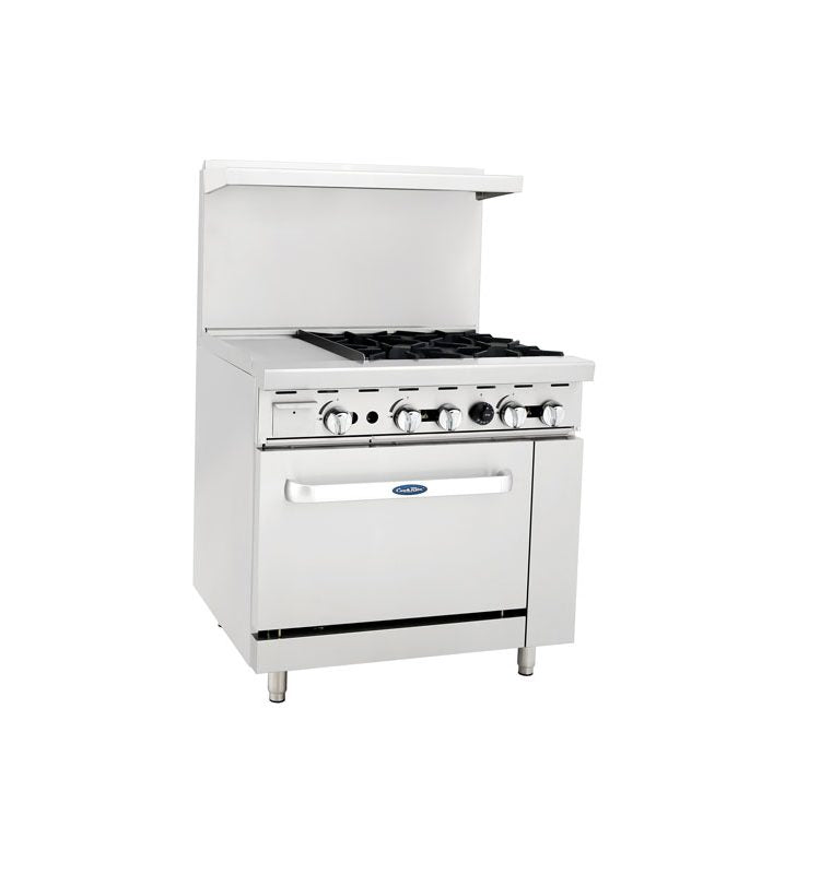 "3' Range | 4 Burners Right | 12"" Griddle Left 