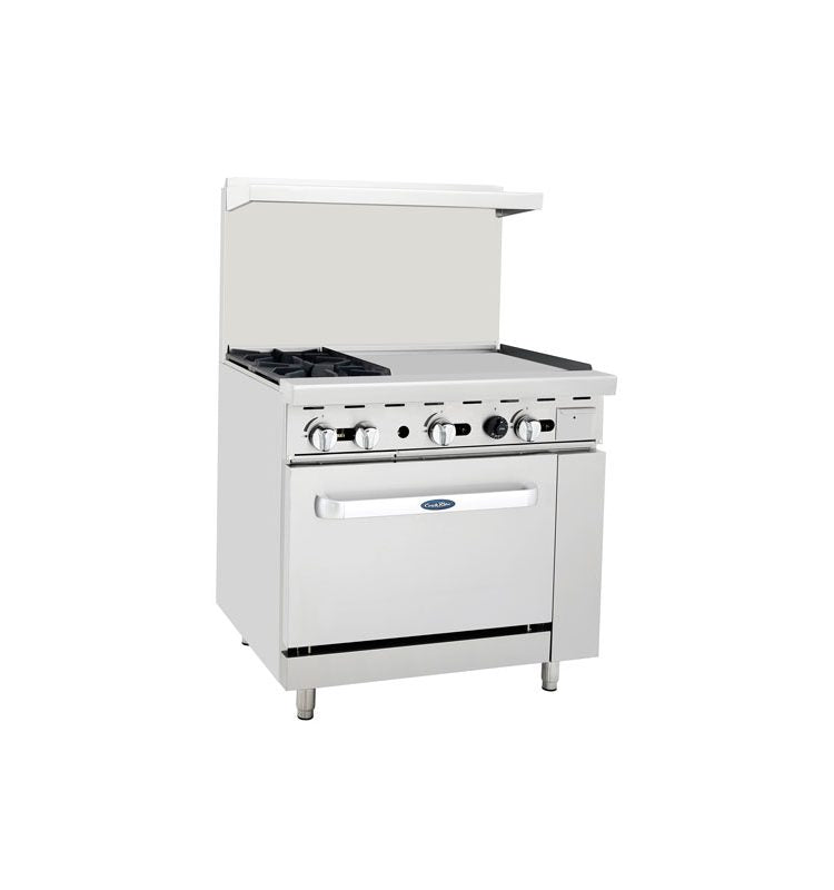 "3' Range | 2 Burners Left | 24"" Griddle Right 
