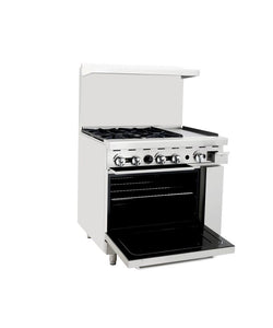 "3' Range | 4 Burners Left | 12"" Griddle Right 