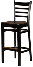 Load image into Gallery viewer, Black Ladderback Wood Barstool