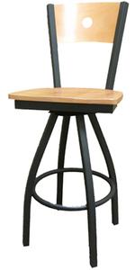 Bullseye Wood Back Swivel Black Barstool