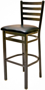 Clear Coat Ladderback Metal Frame Barstool