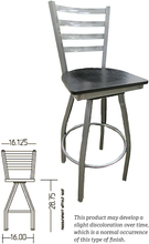 Load image into Gallery viewer, Clear Coat Ladderback Metal Swivel Series Barstool