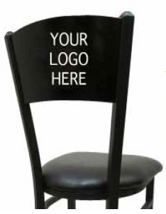 Custom Laser Cut Wood Back Swivel Black Barstool