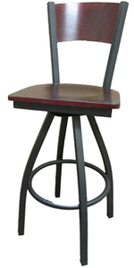Plain Wood Back Swivel Black Barstool