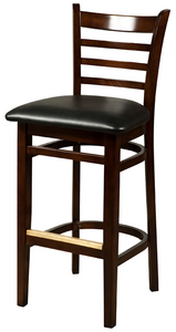 Walnut Ladderback Wood Barstool
