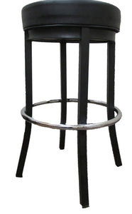 XL Round Black Metal Stationary Barstool with Chrome Ring