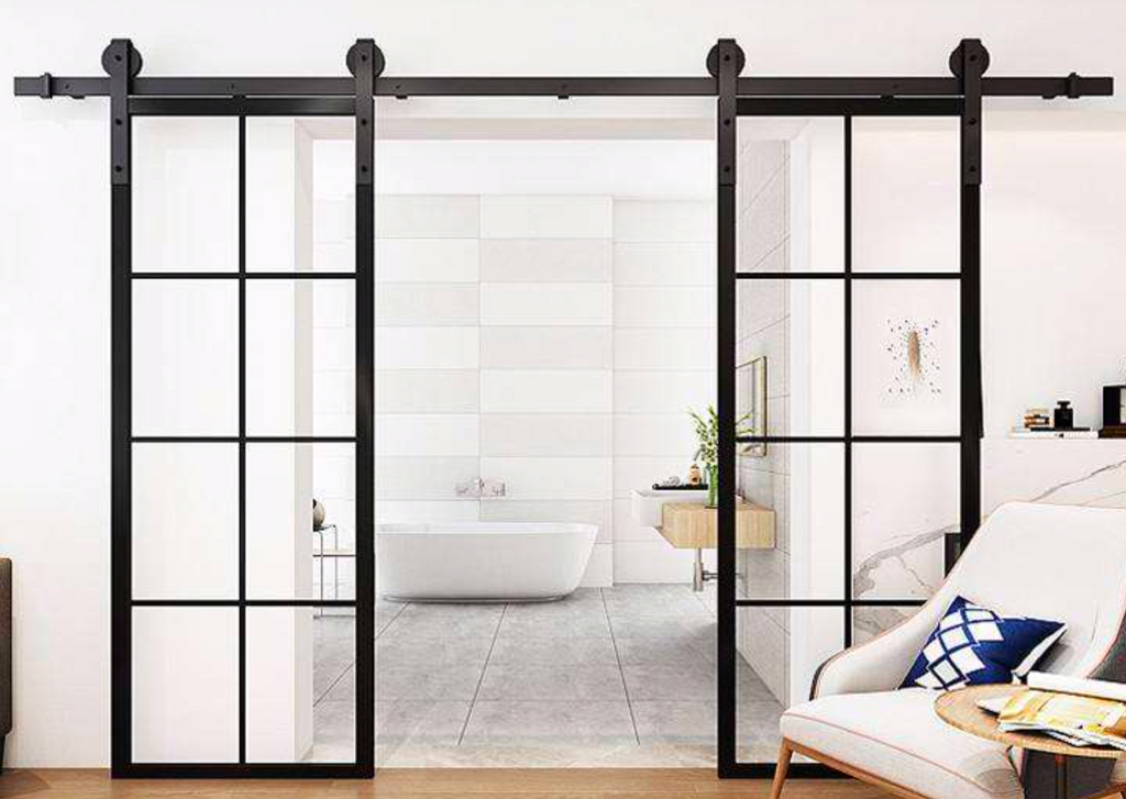 Zen Steel Frame Glass Barn Sliding Doors – Internal Only