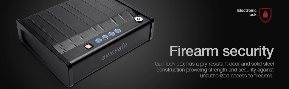 awesafe Gun Safe with Fingerprint Identification and Biometric Lock One Handgun Capacity