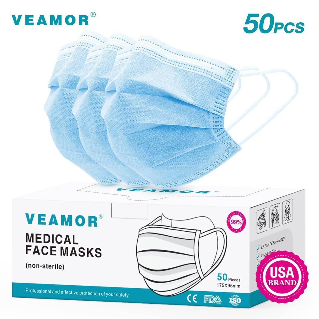 50Pcs Disposable Filter Mask 3 Ply Earloop Face Masks