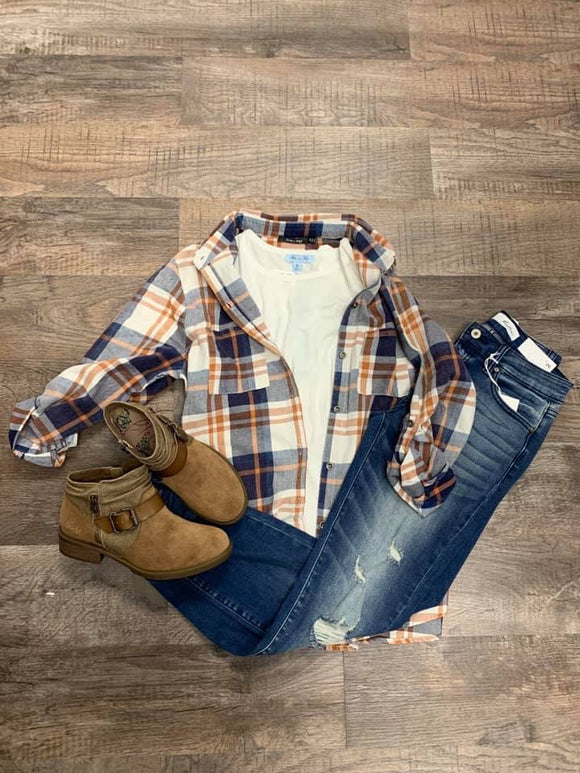 Blue, White, and Orange Flannel
