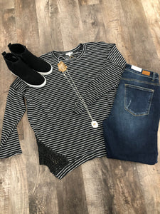 Charcoal striped long sleeve with lace