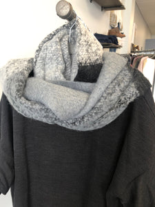 black and grey cozy scarf