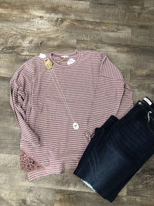 Dried rose striped top with lace
