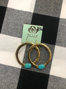 Gold hoops with blue stone