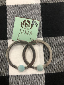 Silver hoop with amazonite stone