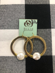 Gold hoops with iridescent stone