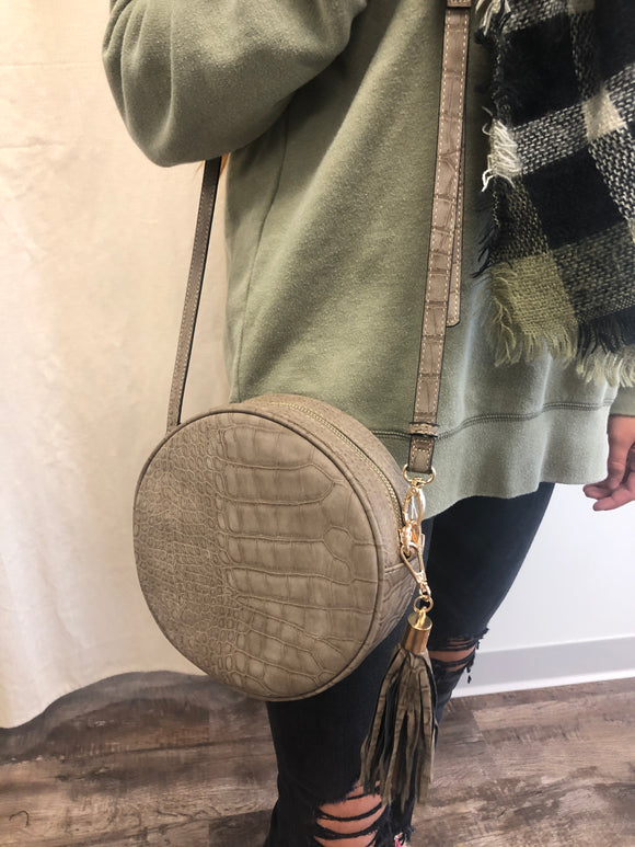 Round Grey Crocodile Crossbody