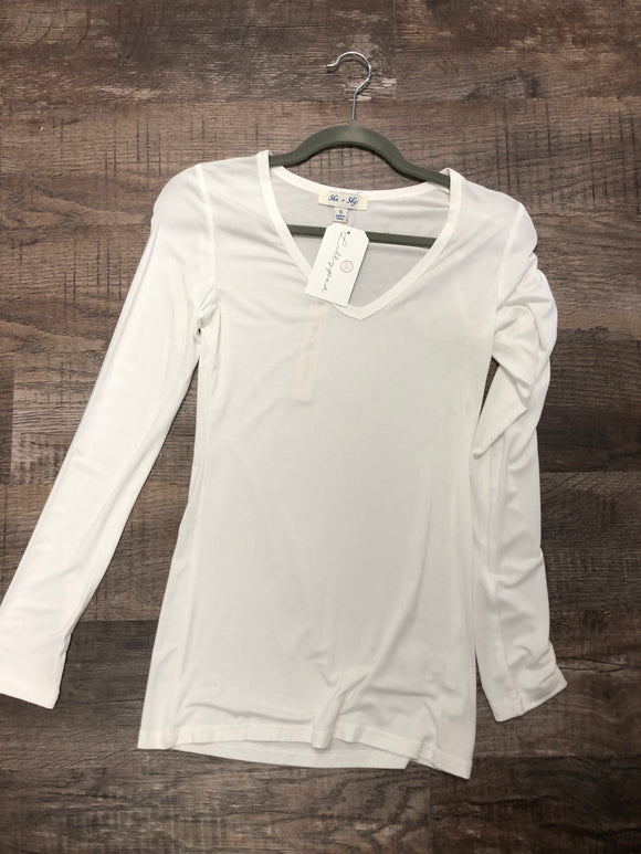 White Long Sleeve V-Neck Basic Top