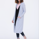 Ribbed heather grey and white duster
