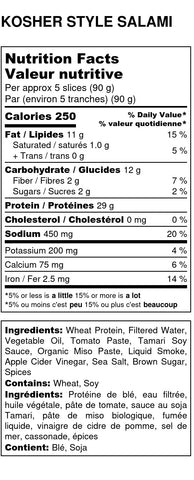 Kosher-Style Salami Nutritional Facts