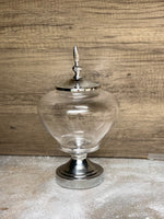 Large Silver Glass Apothecary Jar