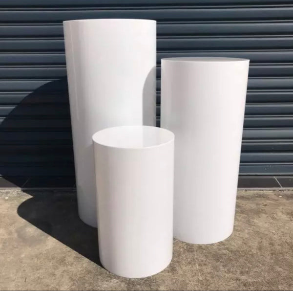 Acrylic Round White Plinths Sets (3 in a set) coming November!