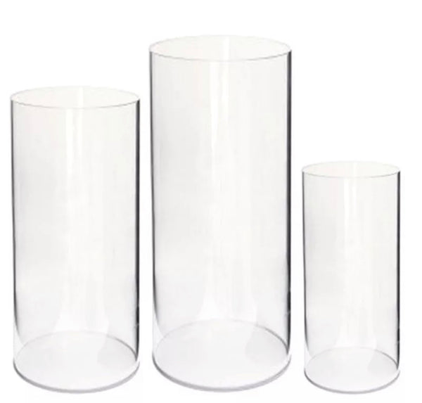 Set of 3 Clear Cylinder Plinths