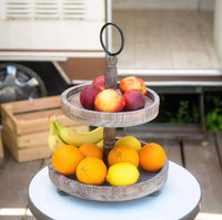 Two- tier Wooden serving platter