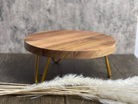 Acacia wooden cake stand with gold pin legs