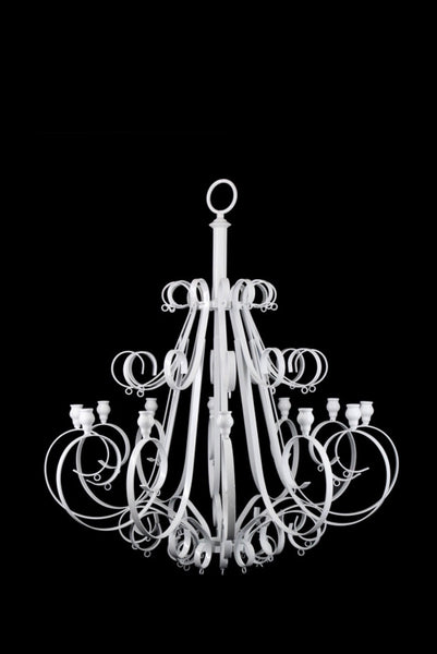 White 12 Arm Candle Chandelier