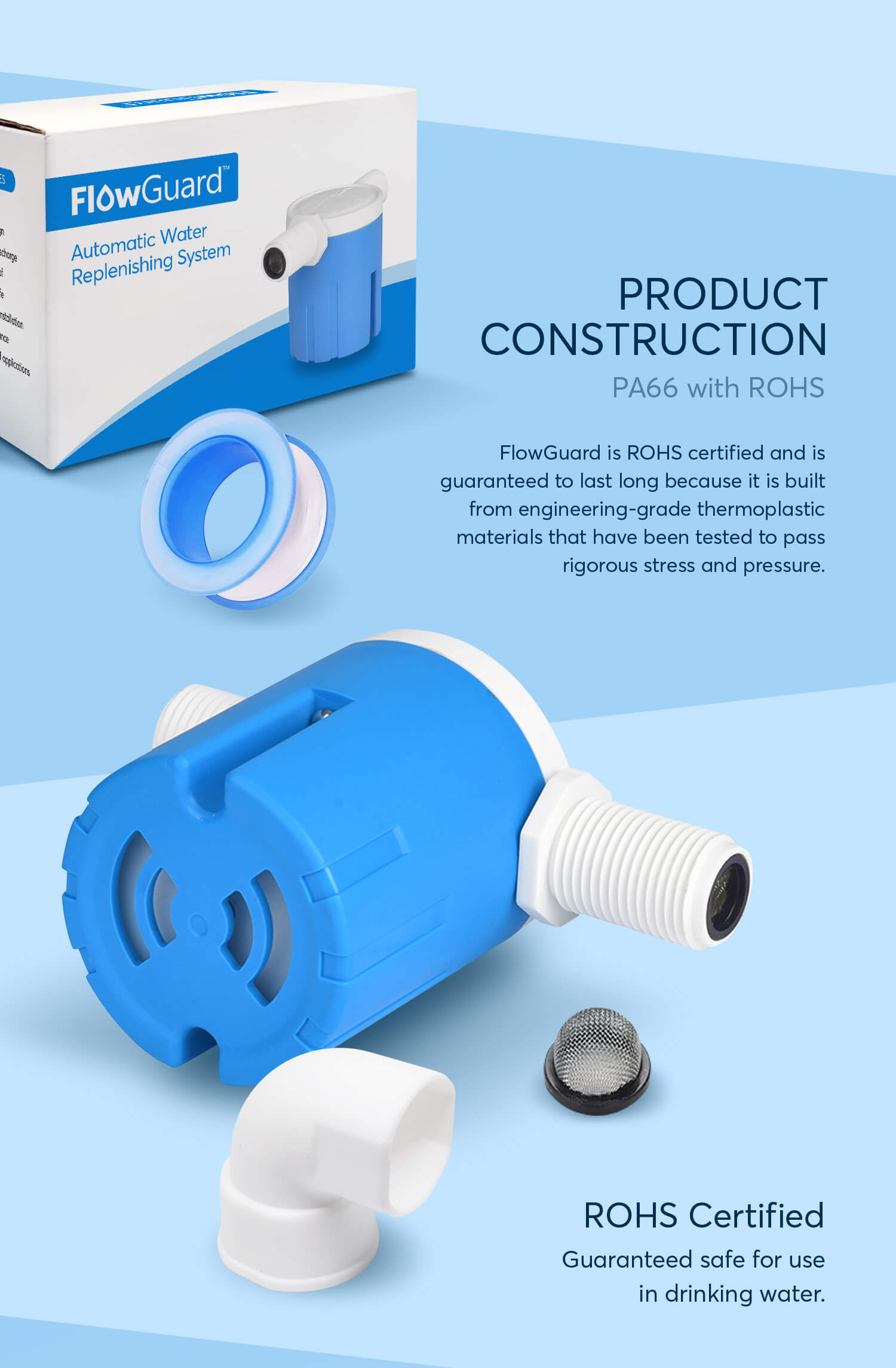 FlowGuard - Automatic Water Replenishing System, Float Valve, Automatic Water Level Control Valve