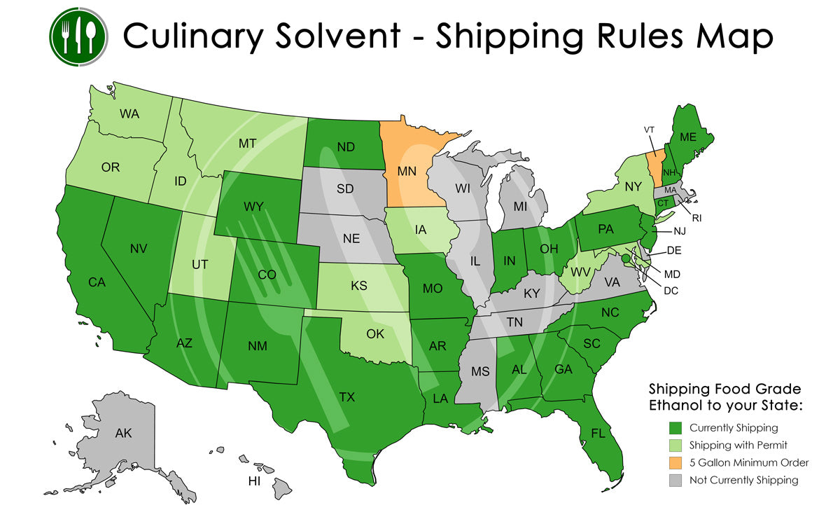 Food Grade Ethanol Shipping Rules Map - Culinary Solvent