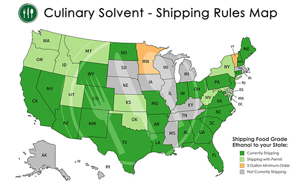 Where we ship food grade ethanol map - Culinary Solvent