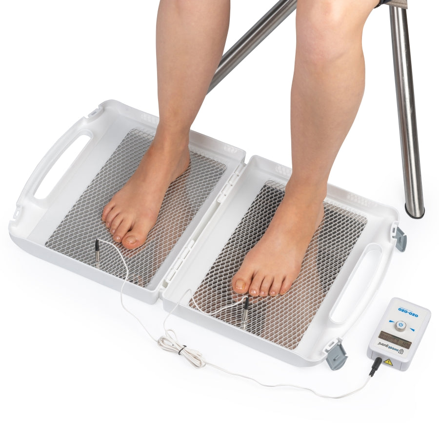 Feet iontophoresis to treat hyperhidrosis excessive sweating