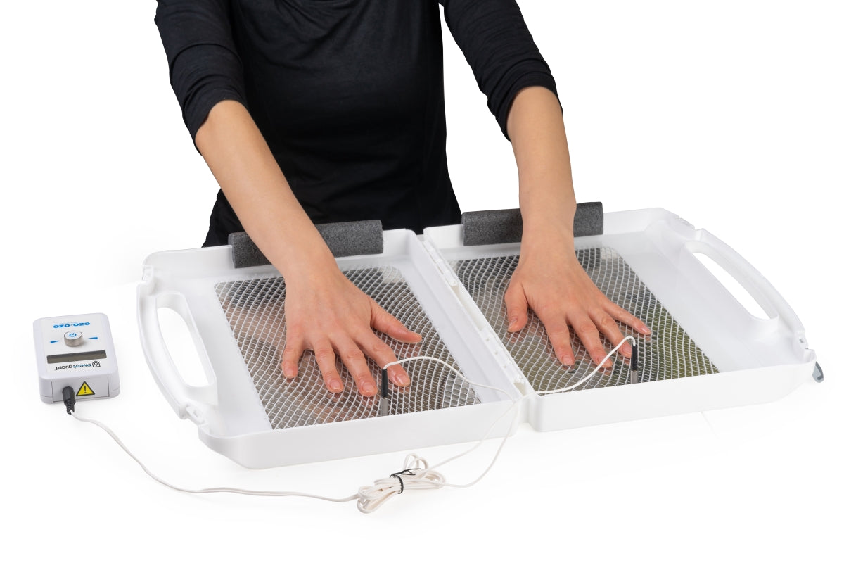 Hand iontophoresis to stop excessive sweating