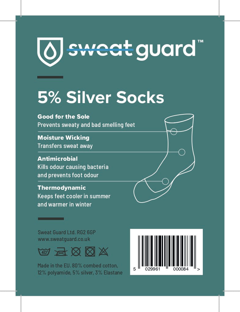 Label for a pack of a pair of silver socks to prevent sweaty and smelly feet