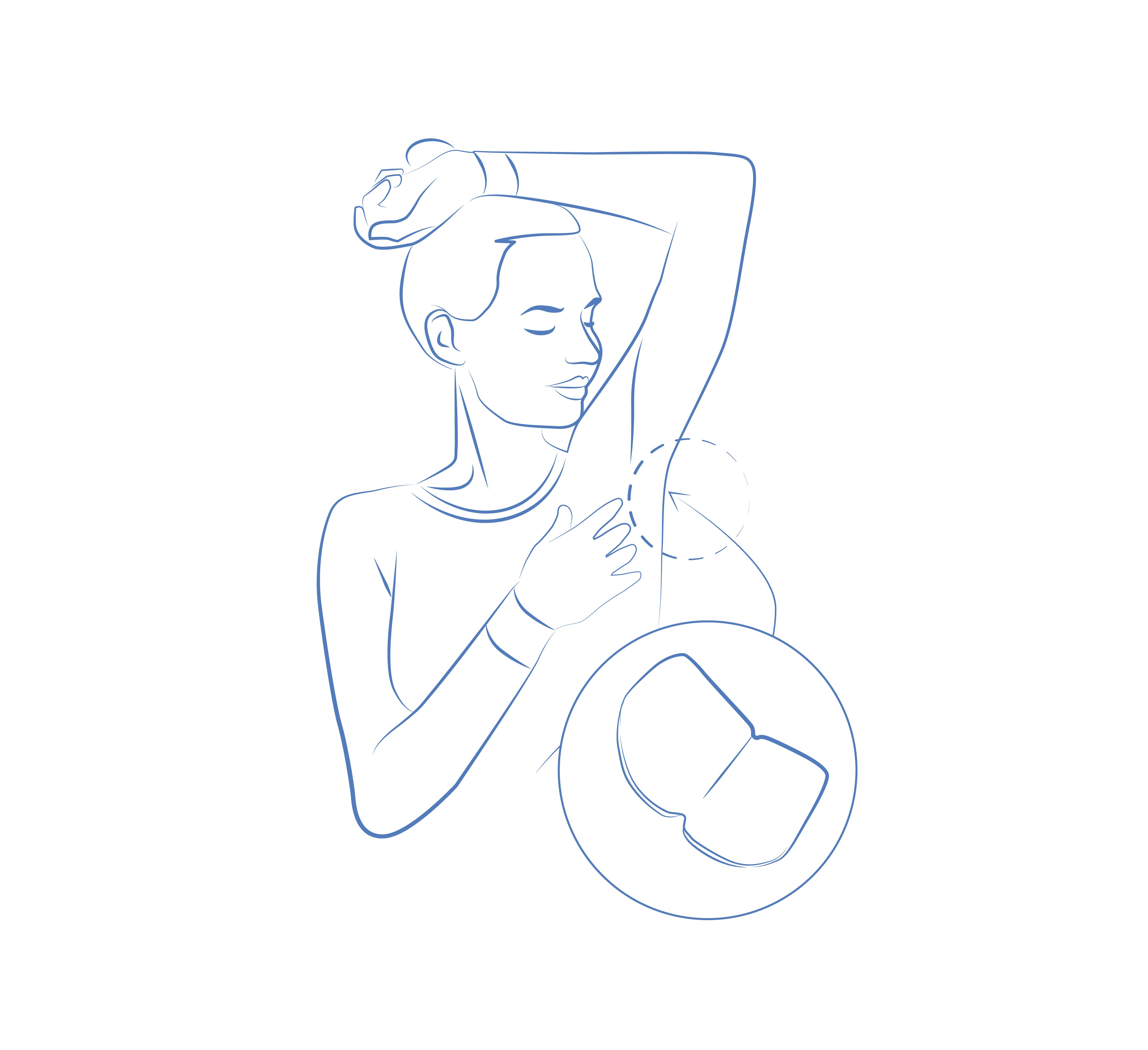 Diagram of a lady with left arm raised over her head to illustrate where  to use sweat guard sweat pads