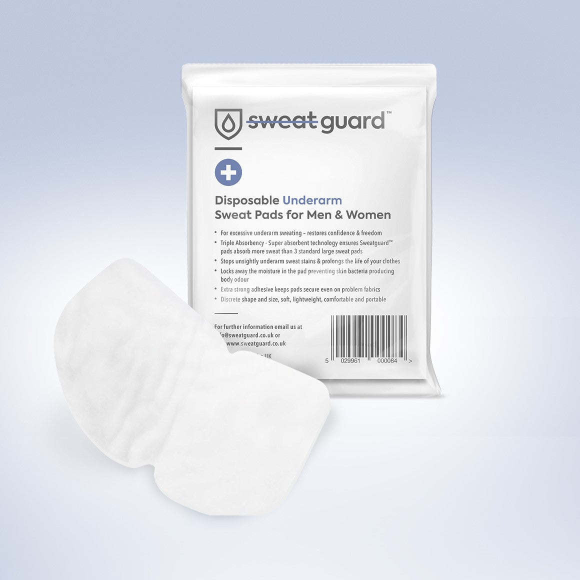 Pack of 100 sweat guard sweat pads that are super  absorbent and adhesive for men and women