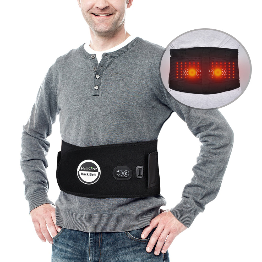 Electric Waist Back Belt Heat Therapy Back Brace Support Massage Lumbar Belt Lower Back Pain Reliever for Women Men Elderly Car