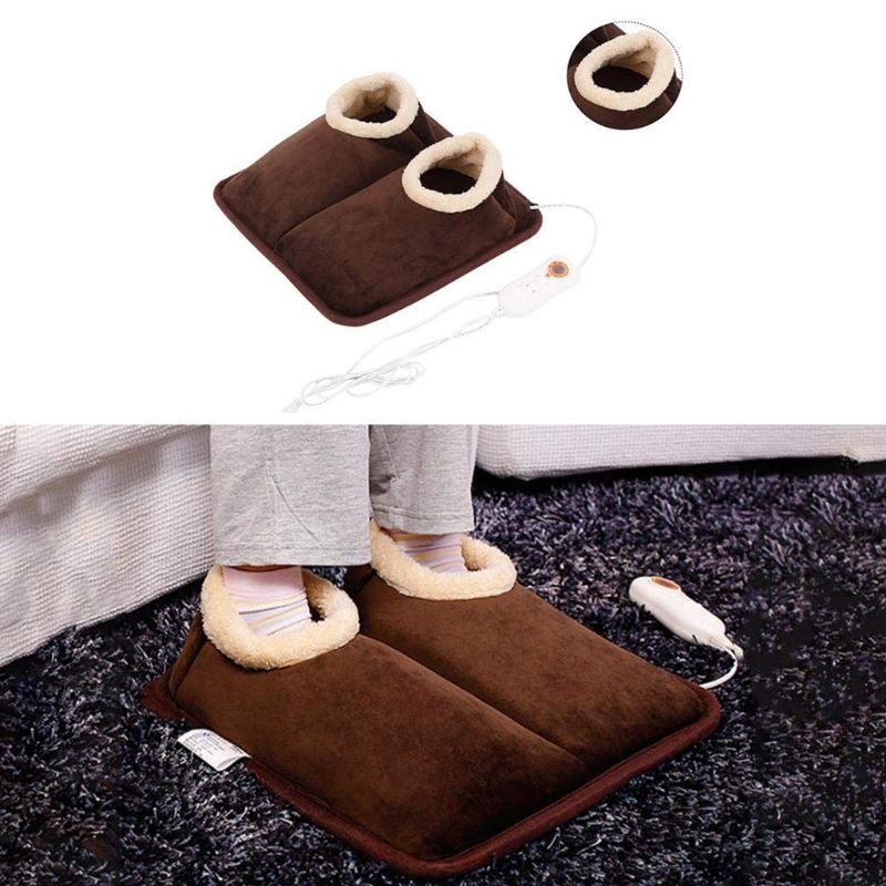 Office Home Unisex Thicken Lining Electric Foot Warmer Massager Heater Big Slipper Detachable Washable Thermal Cushion Pad Shoes