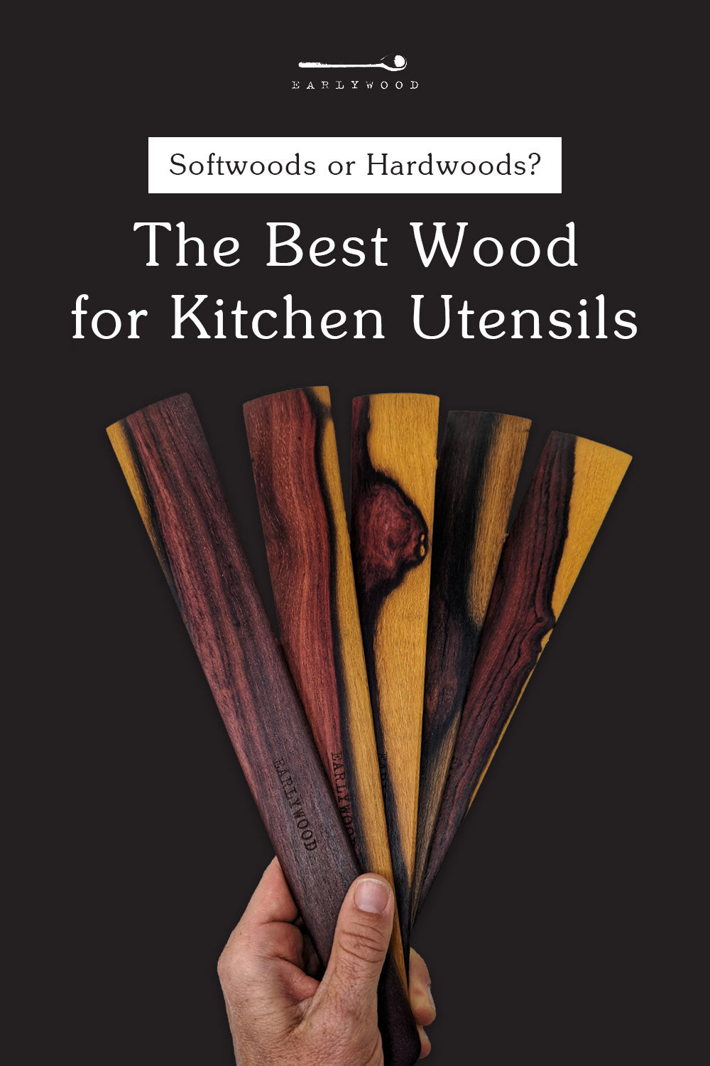 Hand holding flat wooden spatulas with unique patterns