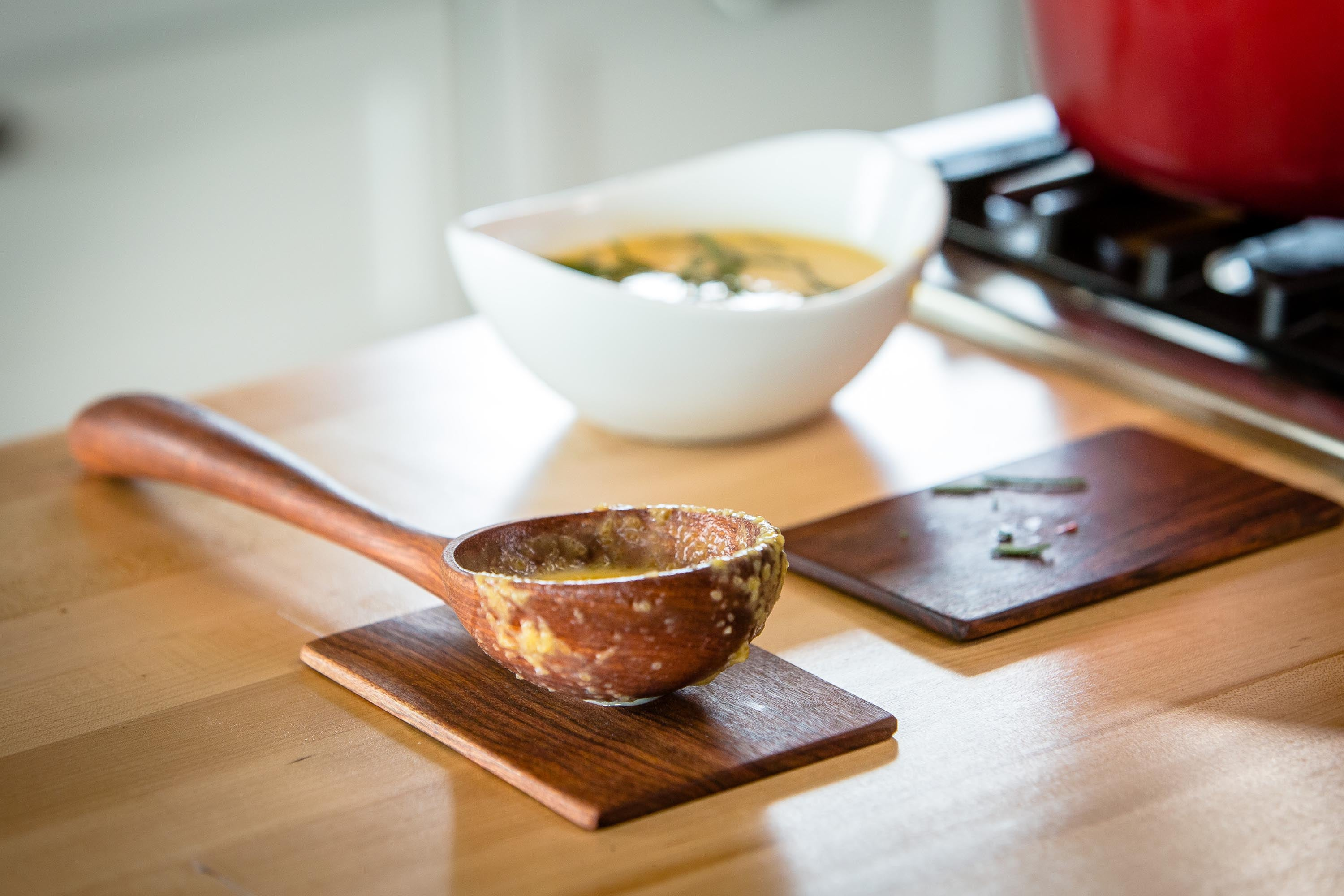 Classic wooden ladle for soups