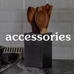 concrete utensil caddy, butcher block oil and other accessories