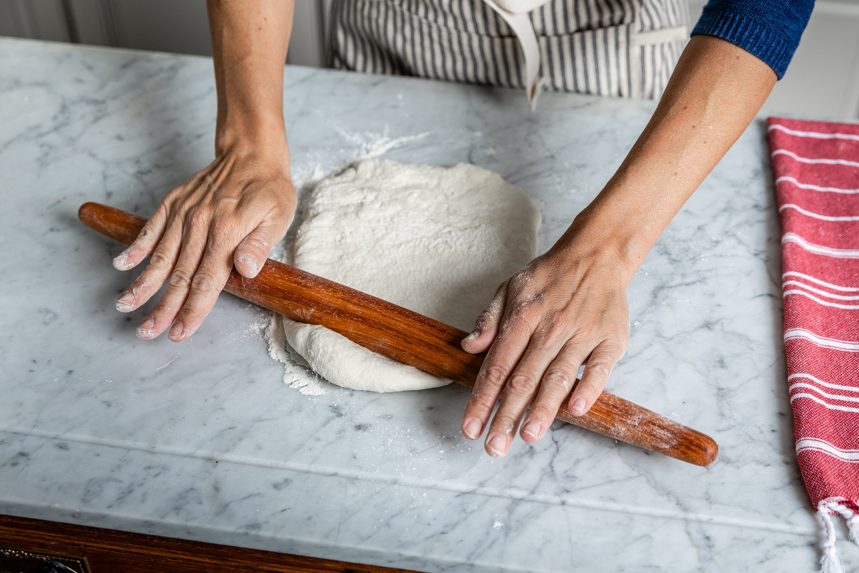 Tapered wooden rolling pin made in the USA