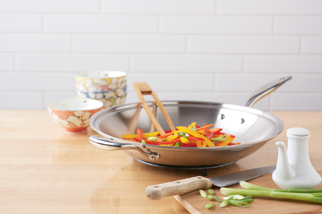 Stainless steel cooking wok made in the USA