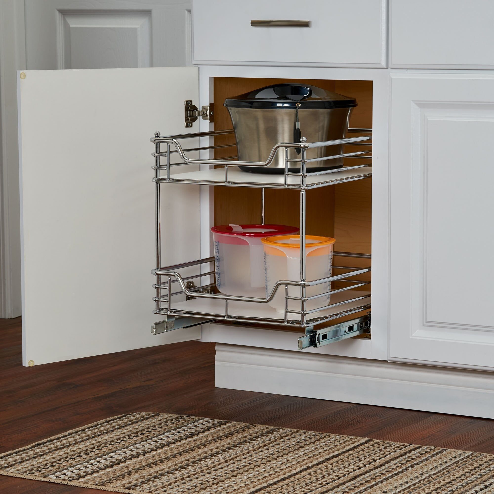 Deep drawer pull-out rack organizer for kitchen