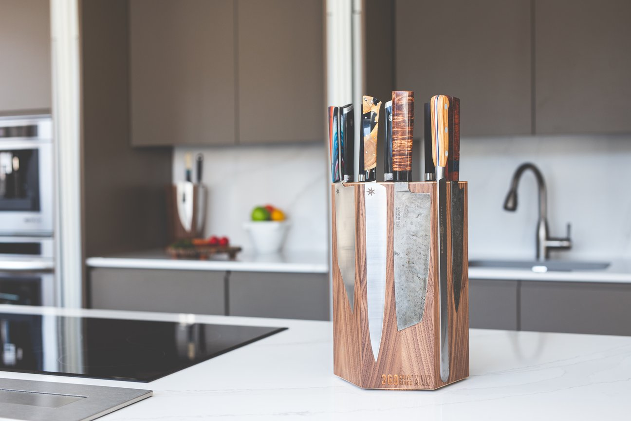Magnetic rotating knife block handcrafted in the USA